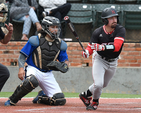 NOC Enid's Seth Graves heads to first with a double against Carl Albert CC during the Region 2 tournament Friday May 10, 2019 at David Allen Memorial Ballpark. (Billy Hefton / Enid News & Eagle)