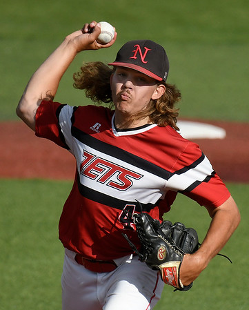 NOC Enid's Lawson Issacs delivers a pitch against Redlands CC during the Region 2 championship Sunday May 12, 2019. (Billy Hefton / Enid News & Eagle)