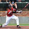 NOC Enid's E.J. Taylor loops a double to right field against Redlands CC during the Region 2 championship Sunday May 12, 2019. (Billy Hefton / Enid News & Eagle)