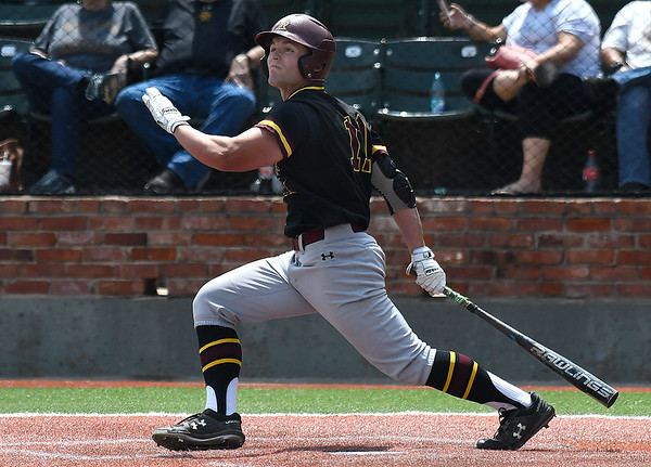 Pearl River's Kasey Donaldson hits a home run against Pasco-Hernando during the NJCAA DII World Series Tuesday May 28, 2019 at David Allen Memorial Ballpark. (Billy Hefton / Enid News & Eagle)