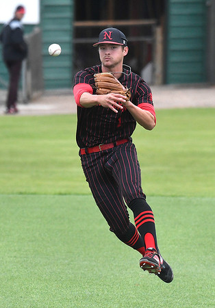 NOC Enid's D.J. Calvert makes a throw to first against Western Oklahoma during the Region 2 tournament Saturday May 11, 2019 at David Allen Memorial Ballpark. (Billy Hefton / Enid News & Eagle)