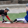 NOC Enid's Alec Buonasera tags out Carl Albert CC's Joseph Rivera at third base during the Region 2 tournament Friday May 10, 2019 at David Allen Memorial Ballpark. (Billy Hefton / Enid News & Eagle)
