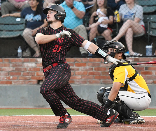 NOC Enid's Tanner Neely hits a home run against Pasco-Hernando in the semi-finals of the NJCAA DII World Series Thursday, May 30, 2019, at David Allen Memorial Ballpark. (Billy Hefton / Enid News & Eagle)