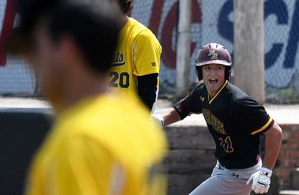 Pearl River's Kasey Donaldson looks at the dugout as he rounds the bases after hitting a home run against Pasco-Hernando during the NJCAA DII World Series Tuesday May 28, 2019 at David Allen Memorial Ballpark. (Billy Hefton / Enid News & Eagle)