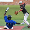 NOC Enid's D.J. Calvert throws over Carl Albert CC's Jaylen Patterson to complete a doubleplay during the Region 2 tournament Friday May 10, 2019 at David Allen Memorial Ballpark. (Billy Hefton / Enid News & Eagle)