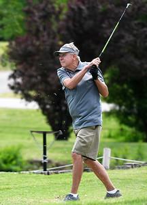 Howard Holton hits a tee shot at Meadowlake Golf Course Friday, May 15, 2020. (Billy Hefton / Enid News & Eagle)