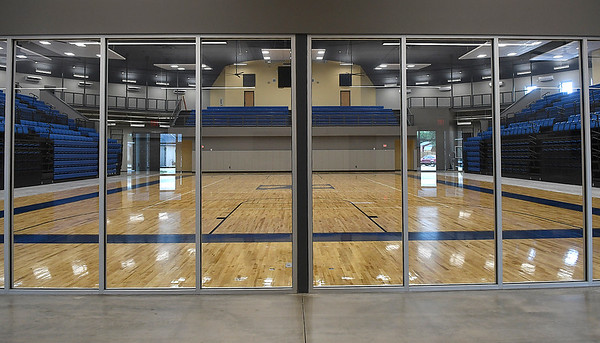 Looking through the lobby windows at Hennessey High School's Eagle Event Center Thursday, May 28, 2020. (Billy Hefton / Enid News & Eagle)