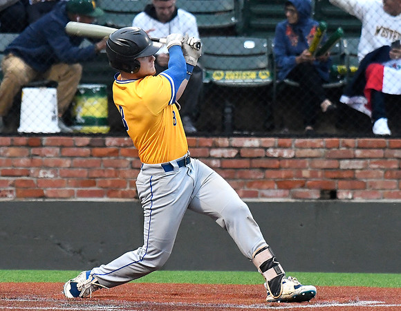 Patrick Henry CC's Omar Graham Dalton hits a double against Western Oklahoma during the NJCAA DII World Series at David Allen Memorial Ballpark Monday, May 31, 2021. (Billy Hefton / Enid News & Eagle)