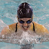 Enid's Whitney Livesay swims the breaststroke in the 200 yard IM Monday at the Denny Price Family YMCA. (Staff Photo by BILLY HEFTON)