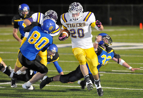 Laverne's Dalton Birch gets loose for a 30 yard touchdown run against Rejoice Christian Friday during the Class B state semi-finals at Enid High School. (Staff Photo by BILLY HEFTON)