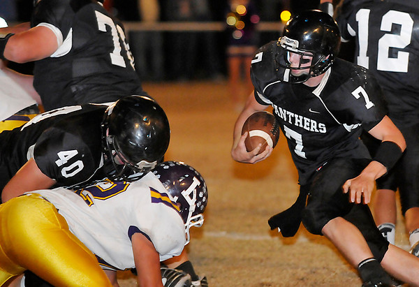 Pond Creek-Hunter's Trenton Grimes looks for running room against Laverne  Friday. (Staff Photo by BILLY HEFTON)