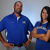 Mooreland High School head softball coach, Luke Thompson, and senior, Brooke Tate, were selected as the 2013 softball coach and player of the year. (Staff Photo by BONNIE VCULEK)