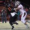 Pioneer's Kody McVey tackles Davenport's Jordan West Friday November 24, 2017 at Davenport High School during the class B state playoffs. (Billy Hefton / Enid News & Eagle)