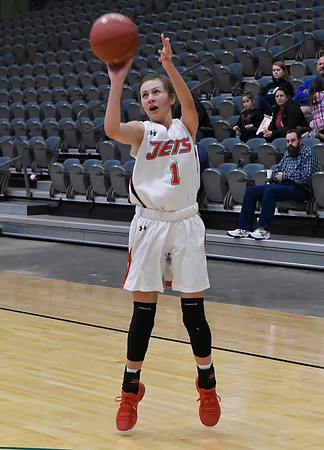 NOC Enid's Macie Jo Pierce shoots a three point shot against Hesston College during the Chick-fil-A/Northern Oklahoma College Classic Saturday November 17, 2018 at the Central National Bank Center. (Billy Hefton / Enid News & Eagle)