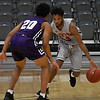 NOC Enid's Romio Harvey brings the ball upcourt against pressure from Ranger College's Coryon Mason during the Chick-fil-A/Northern Oklahoma College Classic Saturday November 17, 2018 at the Central National Bank Center. (Billy Hefton / Enid News & Eagle)