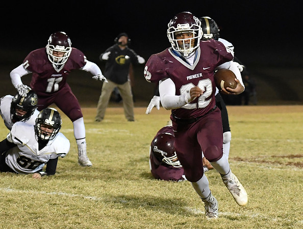 Pioneer's Z.J. Washington gets loose for a long run against Seiling during the first round of the Class B playoffs Friday November 9, 2018. (Billy Hefton / Enid News & Eagle)