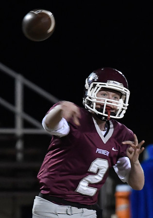 Pioneer's Layken Young throws a pass against Burns Flat-Dill City during a second round game in the Class B playoffs Friday November 16, 2018 at Pioneer High School. (Billy Hefton / Enid News & Eagle)