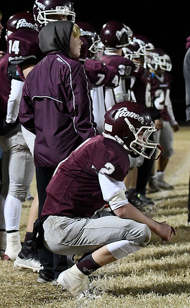 Pioneer's Layken Young watches the final seconds of the Mustangs 34-26 loss to Burns Flat-Dill City in second round game in the Class B playoffs Friday November 16, 2018 at Pioneer High School. (Billy Hefton / Enid News & Eagle)