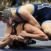 Enid's Dae Stuber gains control of Santa Fe's Josh Stitzel during their 120-pound match Thursday November 29, 2018 at Waller Middle School. (Billy Hefton / Enid news & Eagle)