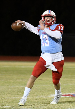 Chisholm's Braden Meek throws a pass against Hennessey Friday November 2, 2019 at Chisholm High School. (Billy Hefton / Enid News & Eagle)