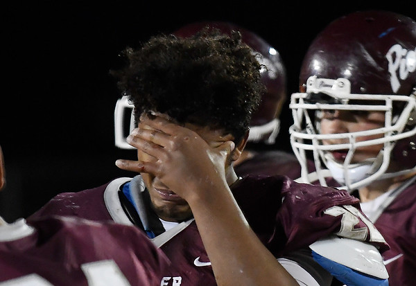 Pioneer's Z.J. Washingto reacts to the Mustangs 34-26 loss to Burns Flat-Dill City in second round game in the Class B playoffs Friday November 16, 2018 at Pioneer High School. (Billy Hefton / Enid News & Eagle)