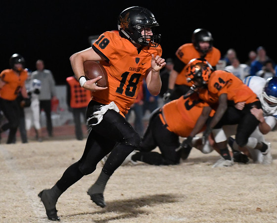 Fairview's Kade Dillard carries the ball against Commerce during the Class A quarterfinals Friday November 23, 2018 at Fairview. (Billy Hefton / Enid News & Eagle)