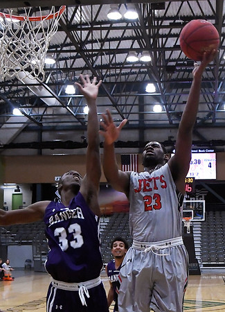 NOC Enid's Ray'Shawn Dotson puts up a shot against Ranger College's Braden Bell during the Chick-fil-A/Northern Oklahoma College Classic Saturday November 17, 2018 at the Central National Bank Center. (Billy Hefton / Enid News & Eagle)