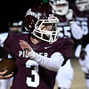 Pioneer's Ty Dennett carries the ball against Turpin during the first round of the Class B state playoffs Friday, November 15, 2019 at Pioneer High School. (Billy Hefton / Enid News & Eagle)