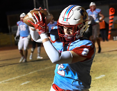 Chisholm's Cade Balenti catches a touchdown pass against Okemah during the first round of the Class 2A playoffs Friday, November 15, 2019 at Chisholm High School. (Billy Hefton / Enid News & Eagle)