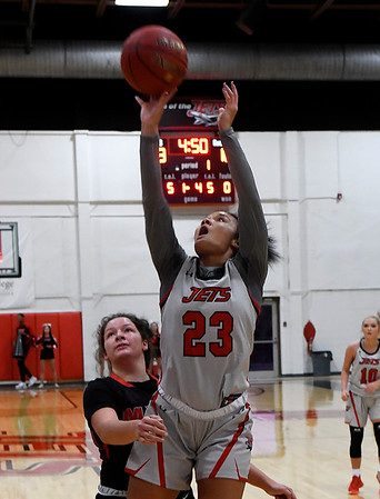 NOC Enid's Tanara Combs puts up a shot against Mid-American University JV Monday, November 4, 2019 at the NOC Mabee Center. (Billy Hefton / Enid News & Eagle)
