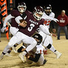 Pioneer's Ty Dennett avoids the tackle of Turpin's Logan Wills on his way to a 99 yard touchdown run during the first round of the Class B state playoffs Friday, November 15, 2019 at Pioneer High School. (Billy Hefton / Enid News & Eagle)
