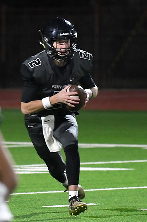 Pond Creek-Hunter's Jake Ronck runs the option against Boise City Friday, November 8, 2019 at Pond Creek-Hunter High School. (Billy Hefton / Enid News & Eagle)