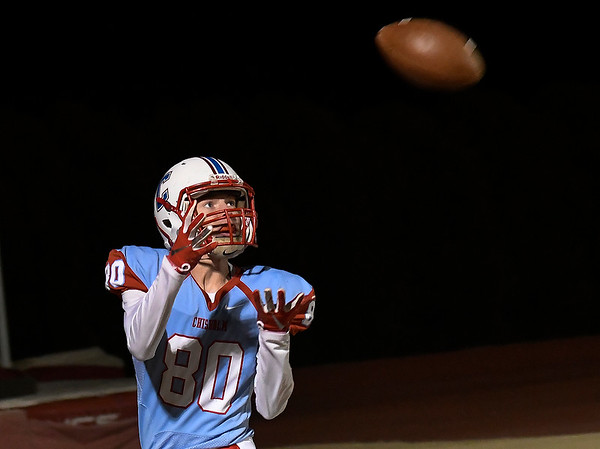 Chisholm's Cody Wichert catches a touchdown pass against Okemah during the first round of the Class 2A playoffs Friday, November 15, 2019 at Chisholm High School. (Billy Hefton / Enid News & Eagle)