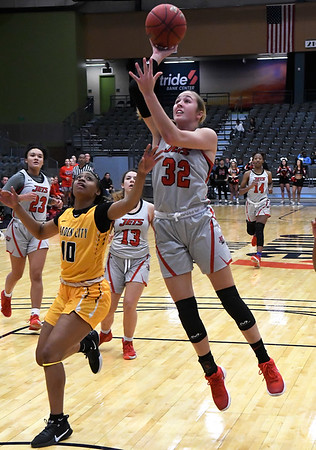 NOC Enid's Sarah Griswold puts up a shot against Garden City Thursday, November 14, 2019 during the NOC/Chick-fil-A Classic at the Stride Bank Center in Downtown Enid. (Billy Hefton / Enid News & Eagle)