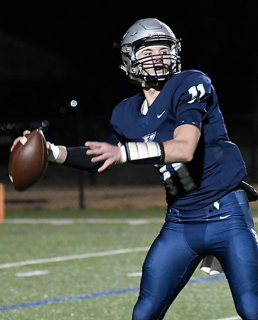 Enid's Blake Priest throws a pass against Broken Arrow Friday, November 8, 2019 at D. Bruce Selby Stadium. (Billy Hefton / Enid News & Eagle)