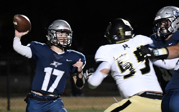 Enid's Maddux Mayberry throws a pass against Broken Arrow Friday, November 8, 2019 at D. Bruce Selby Stadium. (Billy Hefton / Enid News & Eagle)