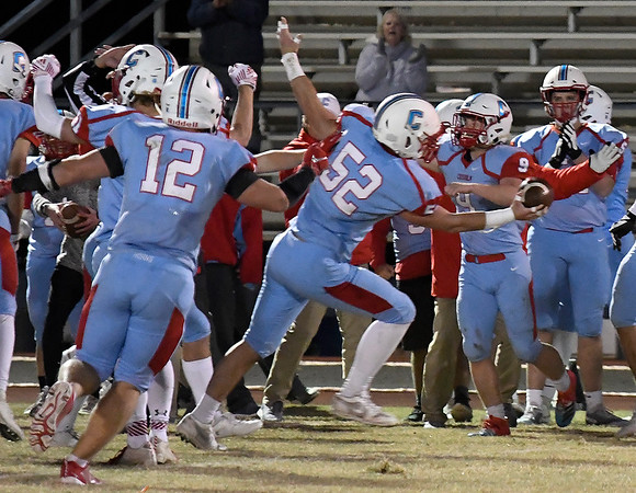 Chisholm's Hudson (52) Fields celebrates an interception against Luther late in the fourth quarter Friday, November 1, 2019. (Billy Hefton / Enid News & Eagle)