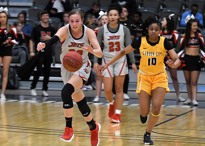 NOC Enid's Sarah Griswold heads upcourt against Garden City Thursday, November 14, 2019 during the NOC/Chick-fil-A Classic at the Stride Bank Center in Downtown Enid. (Billy Hefton / Enid News & Eagle)