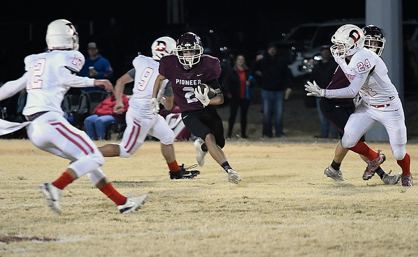 Pioneer's Leyton Parker returns a punt for a touchdown against Drumright during the second round of the state playoffs Friday, November 20, 2020 at Pioneer High School. (Billy Hefton / Enid News & Eagle)