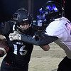 OBA's Connor Colby tries to get away from Healdton's Johnny Gutierrez during the first round of the Class A playoffs Friday, November 13, 2020 at Oklahoma Bible Academy. (Billy Hefton / Enid News & Eagle)