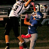 Pond Creek-Hunter's Zach Rayner snags a one-handed catch near the goal line against Waukomis's Hunter Lovell during the Panthers win over the Chiefs at Lovell Field Thursday, Oct. 3, 2013. (Staff Photo by BONNIE VCULEK)
