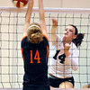 OBA's Abby Potter hits the ball through the block of Guymon's Brooke Arledge during the regional tournament Tuesday. (Staff Photo by BILLY HEFTON)