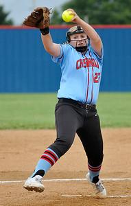 Chisholm's Hannah Kvasnicka delivers a pitch against Alva during the regional tournament Thursday at Chisholm High School. (Billy Hefton | Enid News & Eagle)
