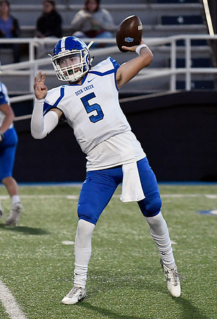 Deer Creek's Hunter Freese throws a pass against Enid Friday October 7, 2016 at D. Bruce Selby Stadium in Enid. (Billy Hefton / Enid News & Eagle)