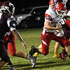 Ringwood's Joshua Frable runs the ball against Pioneer Thursday October 5, 2017 at Pioneer High School. (Billy Hefton / Enid News & Eagle)