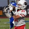 Medford's Brayden Keller catches a pass against Covington-Douglas Thursday October 12, 2017. (Billy Hefton / Enid News & Eagle)