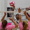 Enid's D'Sani Levy hits the ball against Putnam City Thursday October 4, 2018 at the NOC Mabee Center. (Billy Hefton / Enid News & Eagle)