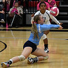 Enid's Kayla Kelley volleys the ball against Putnam City Thursday October 4, 2018 at the NOC Mabee Center. (Billy Hefton / Enid News & Eagle)
