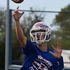 Waukomis' Matt Buck throws a pass during practice at Waukomis High School Wednesday October 17, 2018. (Billy Hefton / Enid News & Eagle)