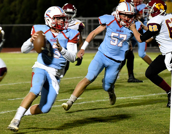 Chisholm's Braden Meek gets loose for a touchdown against Centennial Friday October 12, 2018 at Chisholm High School. (Billy Hefton / Enid News & Eagle)